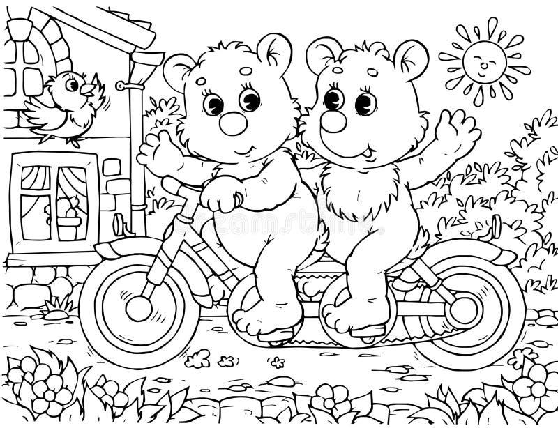 Ciclistas engraçados dos ursos ilustração stock