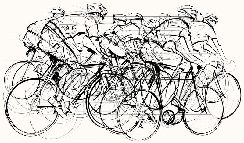 Ciclistas na competição ilustração stock