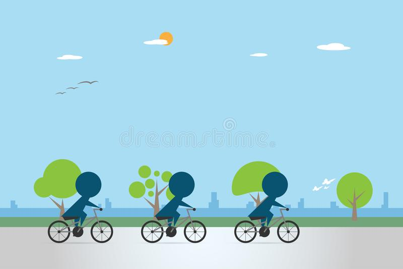 Ciclistas que montam a bicicleta na pista da bicicleta, conceito da saúde ilustração stock