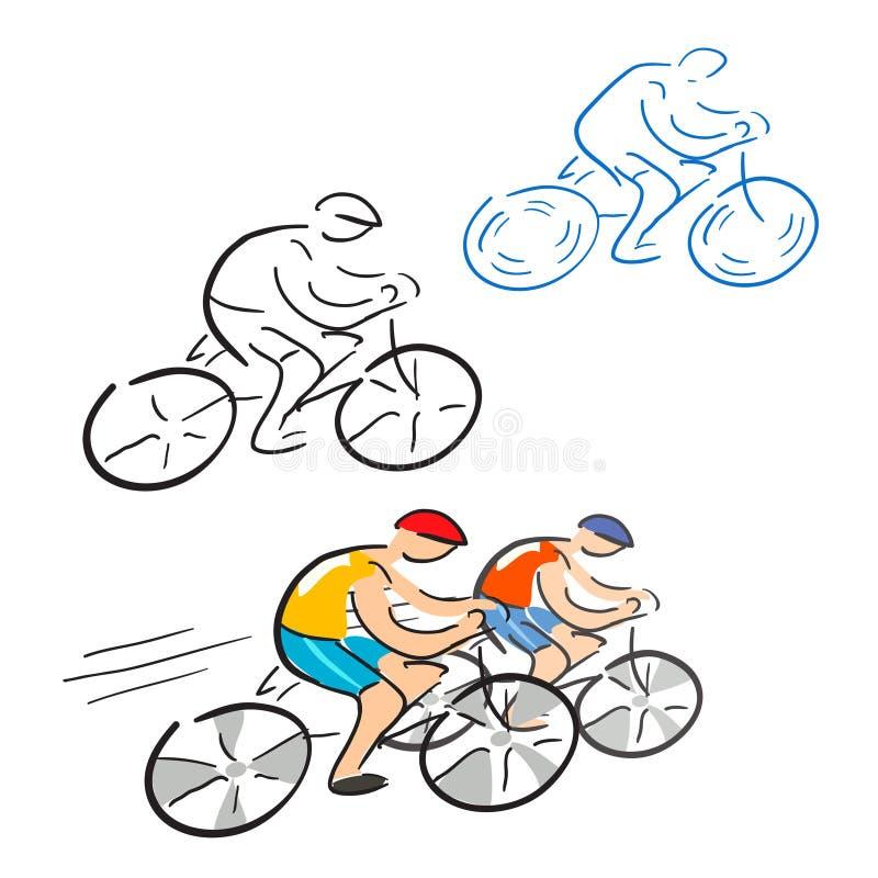 Ciclisti, corridore ciclista, schizzo illustrazione di stock