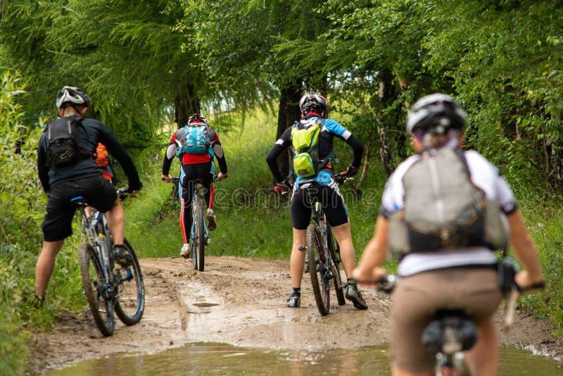 Ciclisti in mountain-bike dal lato del paese della montagna carpatica in Romania immagini stock