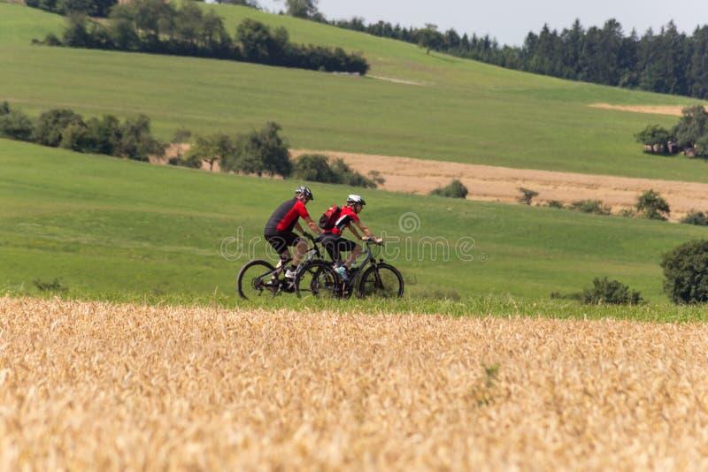 ciclisti in una vista di distanza un giorno soleggiato di estate fotografie stock