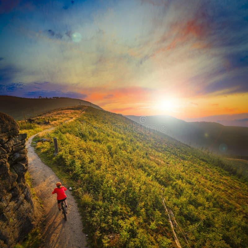 Ciclo biking de la montaña en la puesta del sol en el lan del bosque de las montañas del verano imagen de archivo