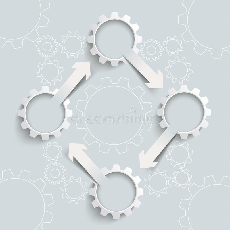 Ciclo blanco PiAd de 4 flechas de los engranajes 4 libre illustration