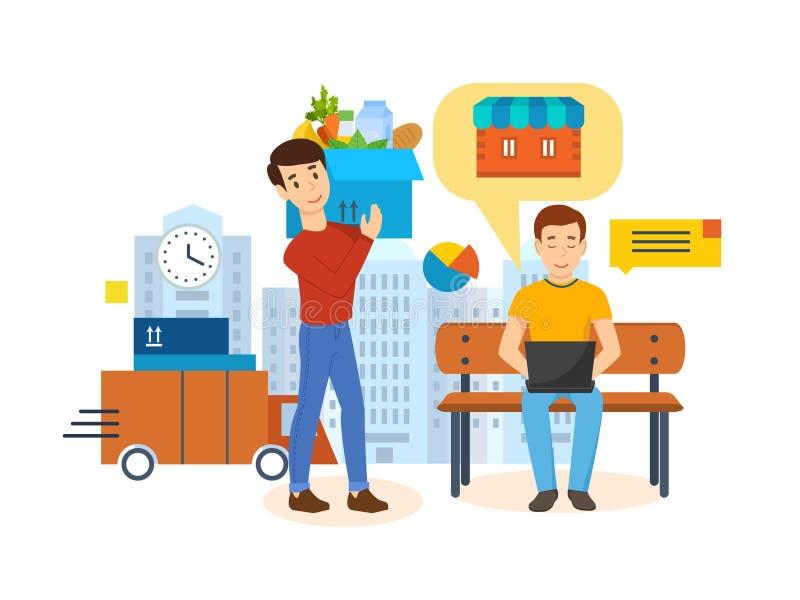 Ciclo completo de la adquisición de producto: orden, pago, siguiendo, entrega, comentarios stock de ilustración