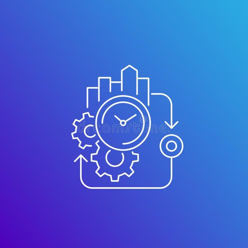 Ciclo da produção, linha ícone do vetor da eficiência ilustração royalty free