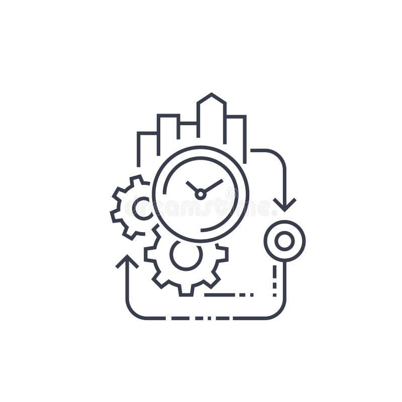 Ciclo de la producción, línea icono de la eficacia stock de ilustración