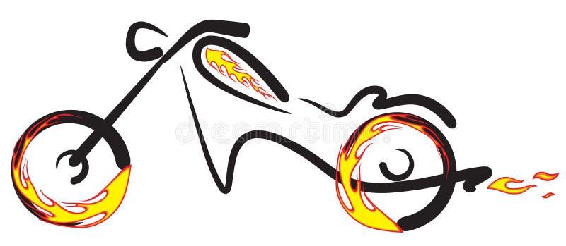 Ciclo de motor com logotipo do incêndio ilustração do vetor