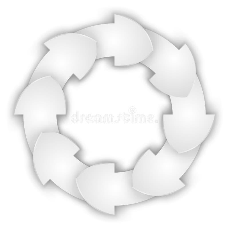 Ciclo de papel encrespado blanco de las flechas ilustración del vector