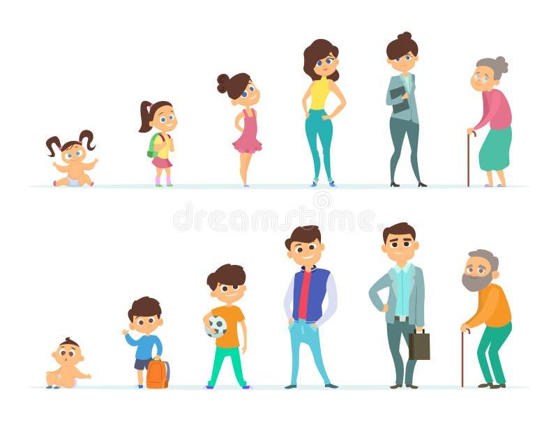 Ciclo de vida do homem e da fêmea Caráteres diferentes da juventude e da idade avançada ilustração stock