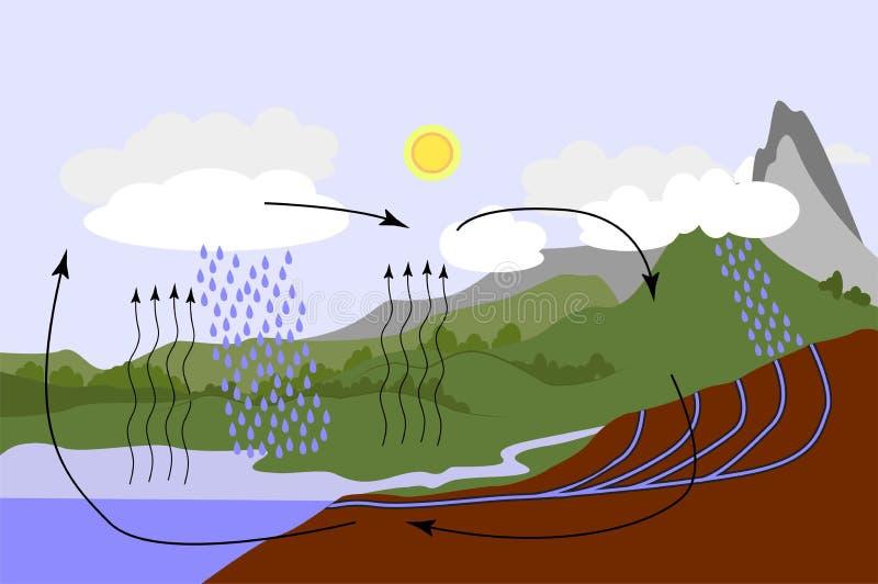 Ciclo dell'acqua in natura illustrazione vettoriale