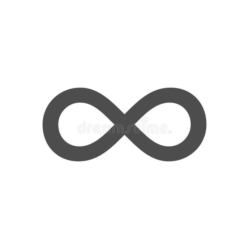 Ciclo di simbolo di infinito La figura 8 icona, logo di eternità firma dentro la progettazione originale, per sempre nodo di eter illustrazione di stock