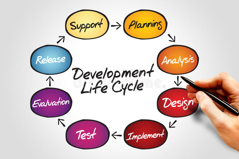 Ciclo di vita di sviluppo fotografia stock