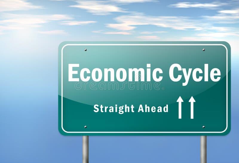 Ciclo económico del poste indicador de la carretera ilustración del vector