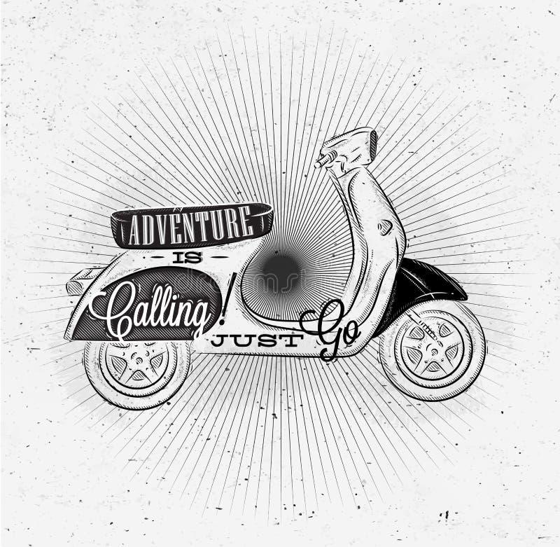 Ciclomotor turístico del cartel stock de ilustración
