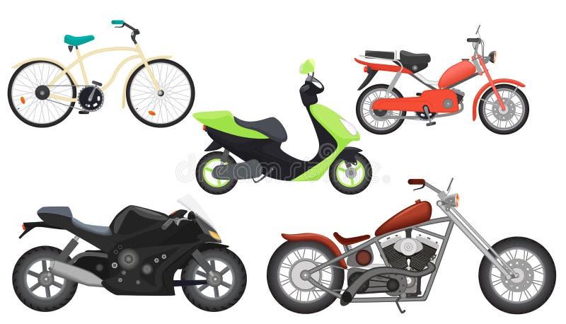 Ciclomotore realistico piano del motociclo di colore classico, motocicletta di velocità, motociclo di viaggio, insieme della racc royalty illustrazione gratis
