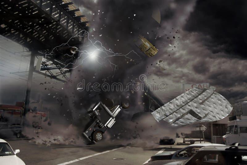 Ciclone nella città illustrazione di stock
