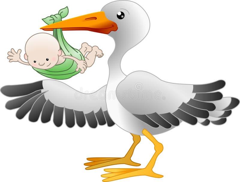 Cicogna con un bambino appena nato illustrazione vettoriale