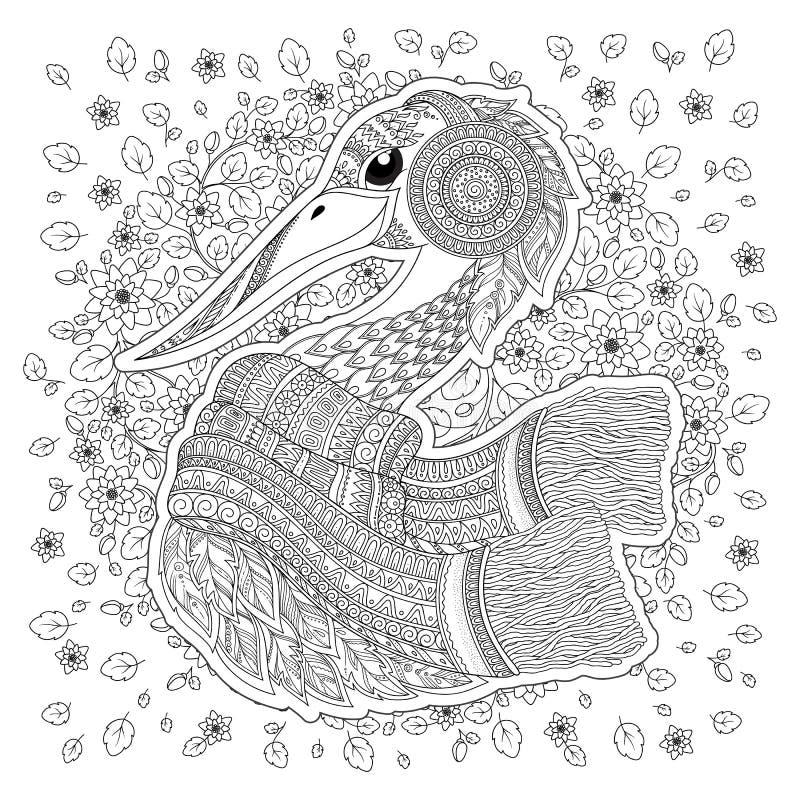 cicogna, fiori fantastici, rami, foglie illustrazione vettoriale