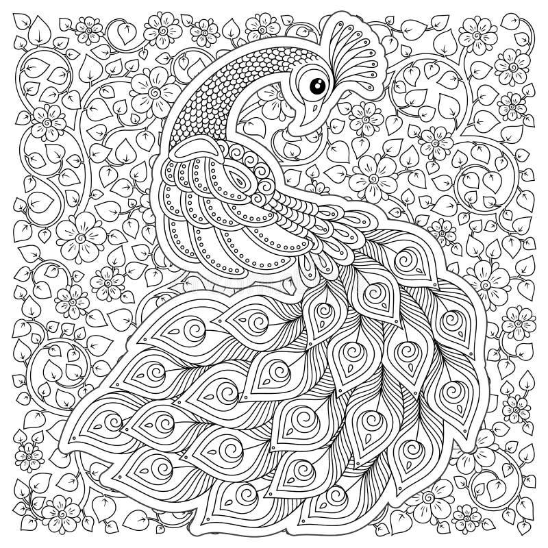 cicogna, fiori fantastici, rami, foglie illustrazione di stock