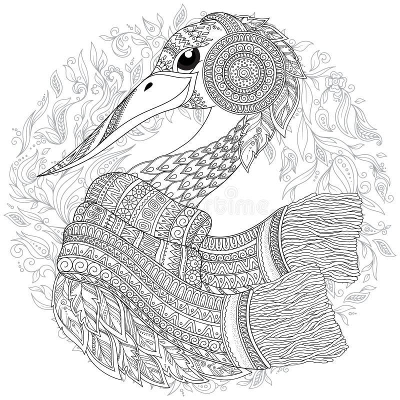 cicogna, fiori fantastici, rami, foglie royalty illustrazione gratis