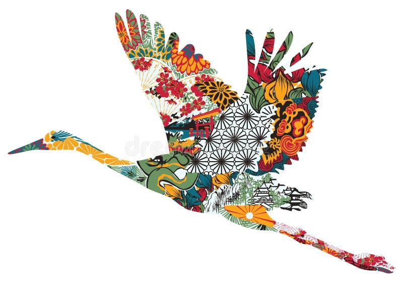 Cicogna in ornamento giapponese illustrazione vettoriale