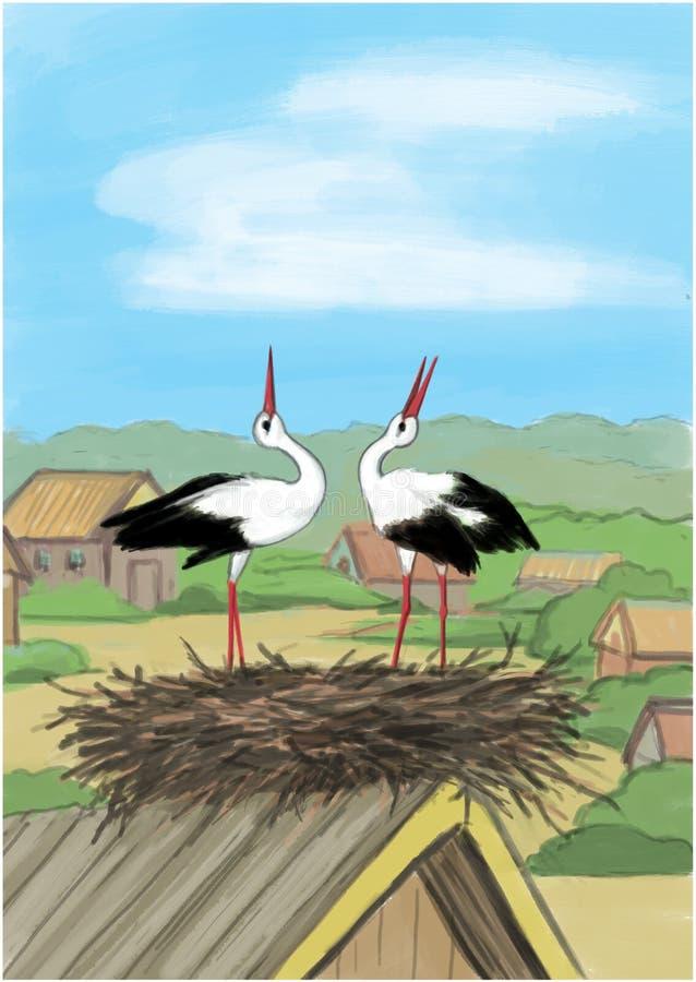 2 cicogne in nido sulla casa, illustrazione royalty illustrazione gratis