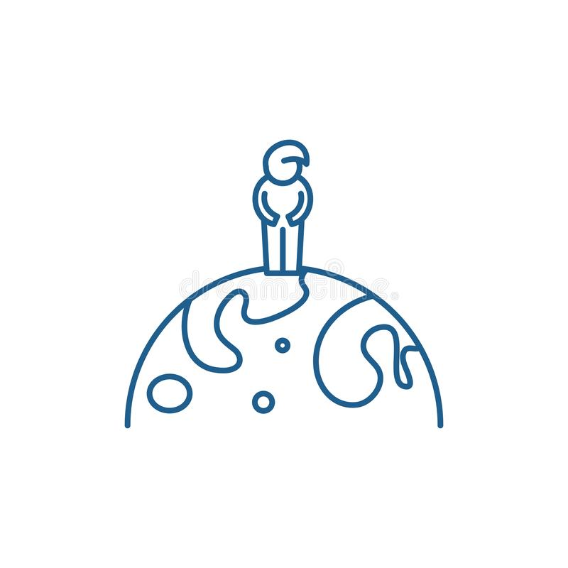 Cidadão da linha conceito do mundo do ícone Cidadão do símbolo liso do vetor do mundo, sinal, ilustração do esboço ilustração stock