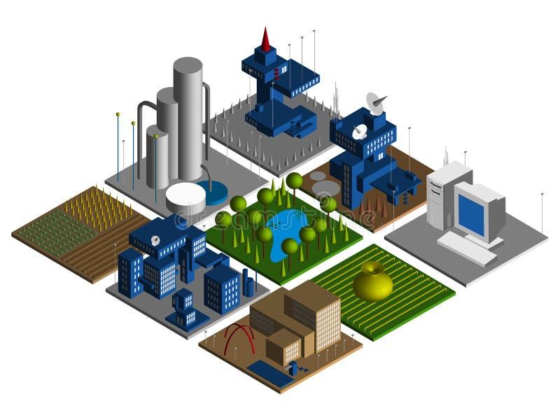 cidade 3d ilustração do vetor