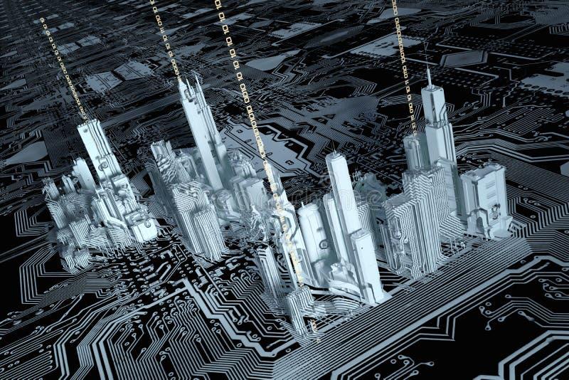 cidade 3D em um chip de computador ilustração stock