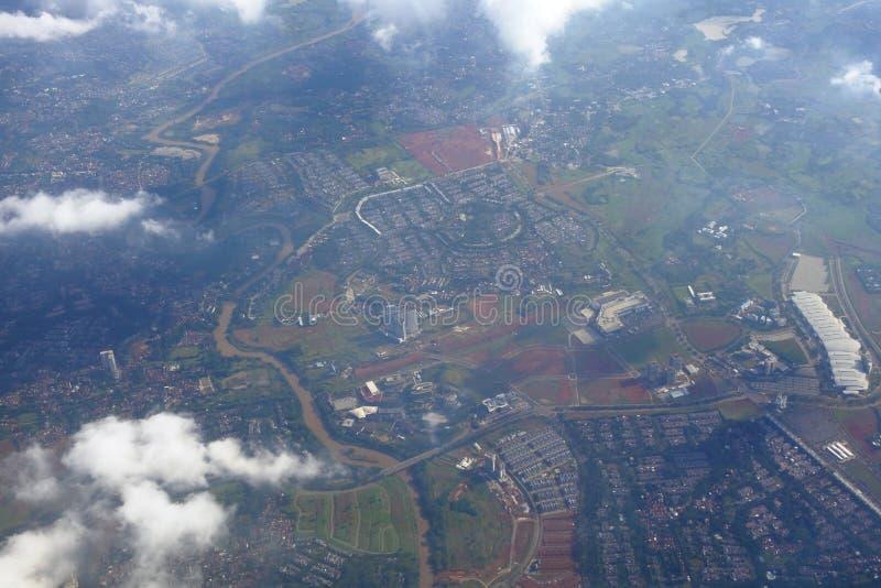 Cidade aérea sobre Jakarta imagem de stock royalty free