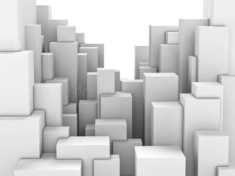 Cidade abstrata dos blocos brancos ilustração stock