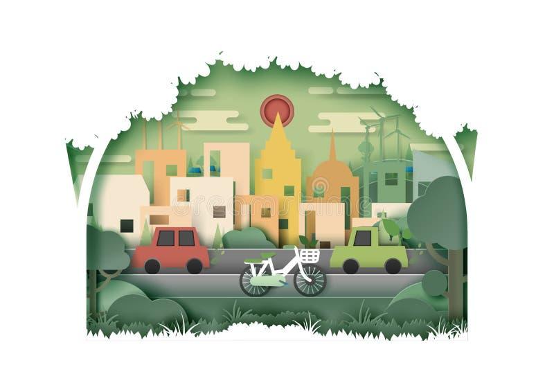 Cidade amigável do eco verde da natureza e parte traseira urbana do sumário da paisagem ilustração royalty free