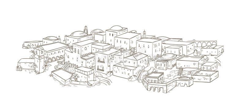Cidade antiga com construções velhas da mão oriental da arquitetura tirada com linhas de contorno no fundo branco monocromático ilustração do vetor