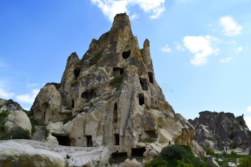 Cidade antiga da caverna em Goreme, Cappadocia, Turquia imagem de stock