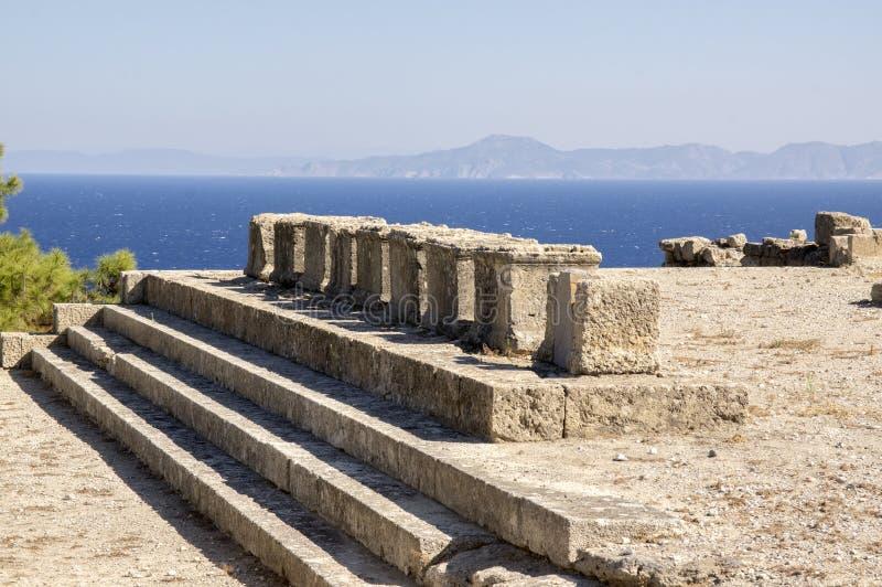 Cidade antiga de Kameiros, o Rodes, Dodecanese, Grécia foto de stock