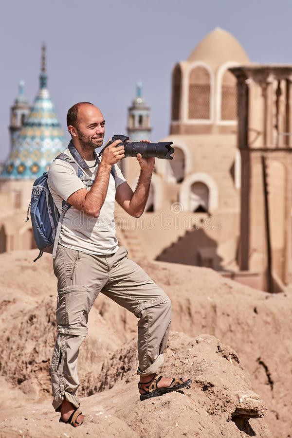 Cidade antiga de Kashan, Irã, única viagem de um turista individual imagem de stock royalty free