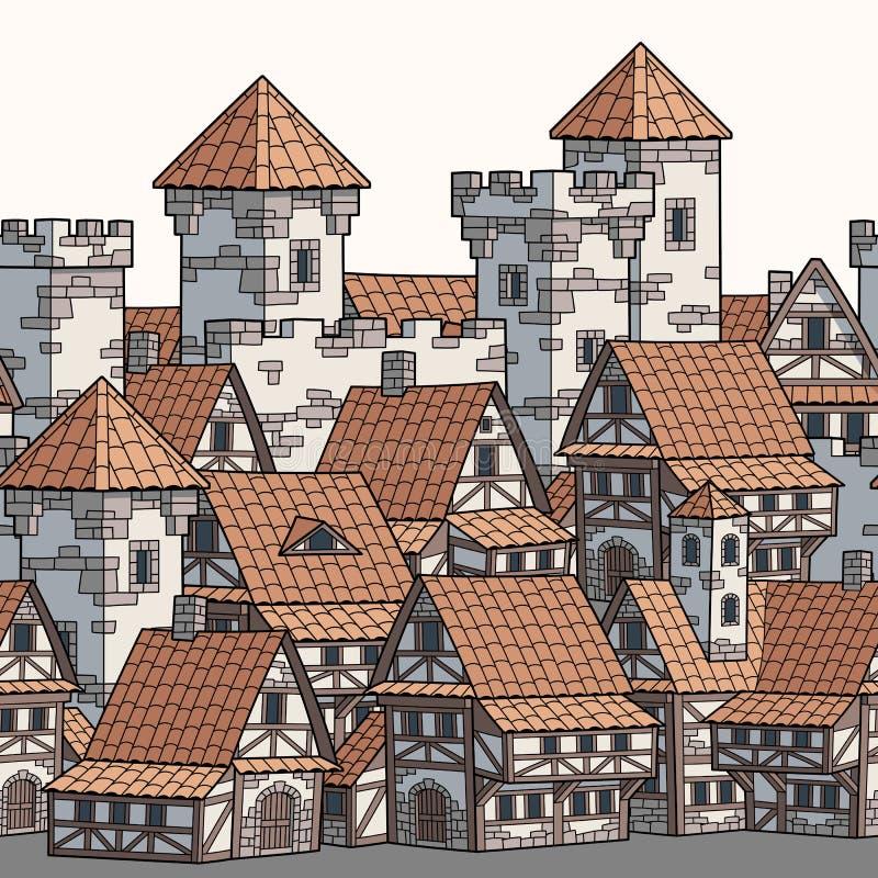 Cidade antiga medieval Teste padrão sem emenda da beira ilustração do vetor
