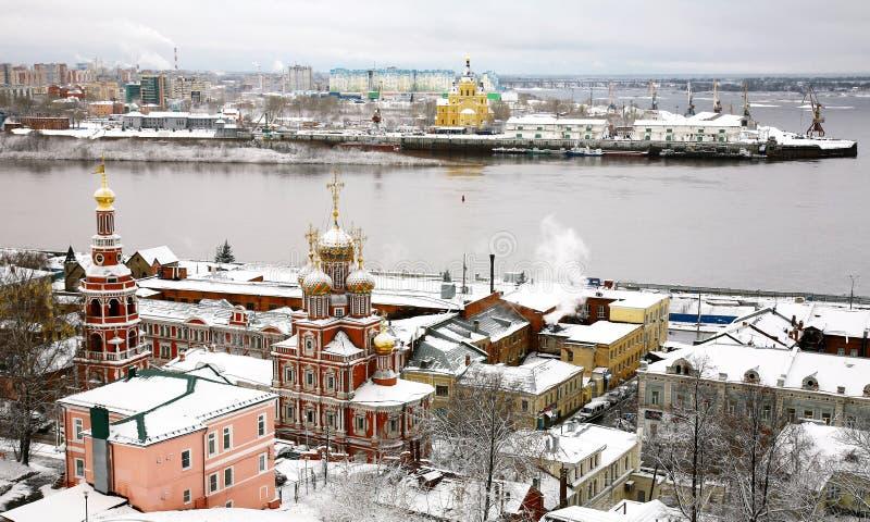 Cidade antiga Nizhny Novgorod do russo do inverno imagens de stock royalty free