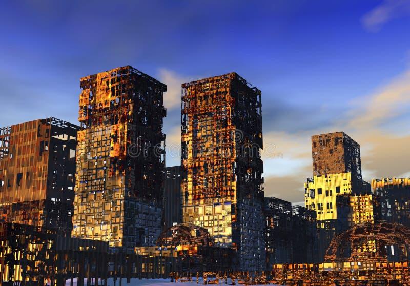 Cidade arruinada ilustração do vetor
