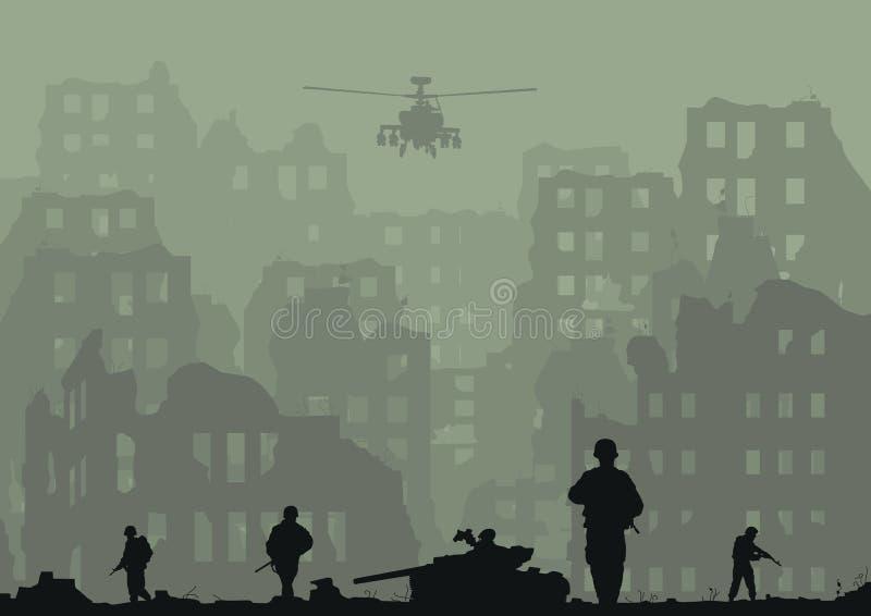 a cidade arruinada, os tanques explodidos, helicópteros e ilustração do vetor