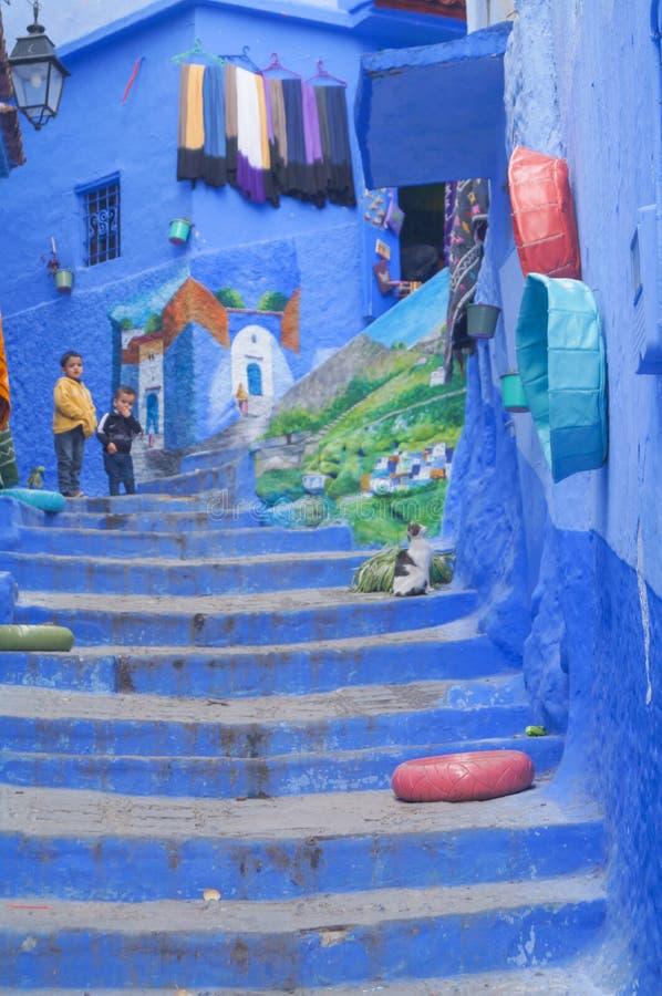 A cidade azul - Chefchaouen, MoroccoHouses na cidade azul famosa Chefchaouen fotografia de stock