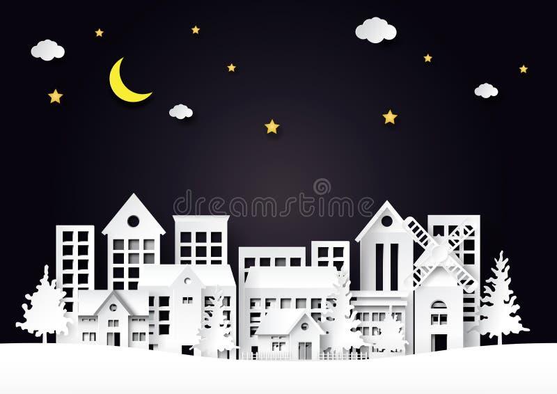 Cidade bonita da noite na arte do papel da cena da paisagem ilustração stock