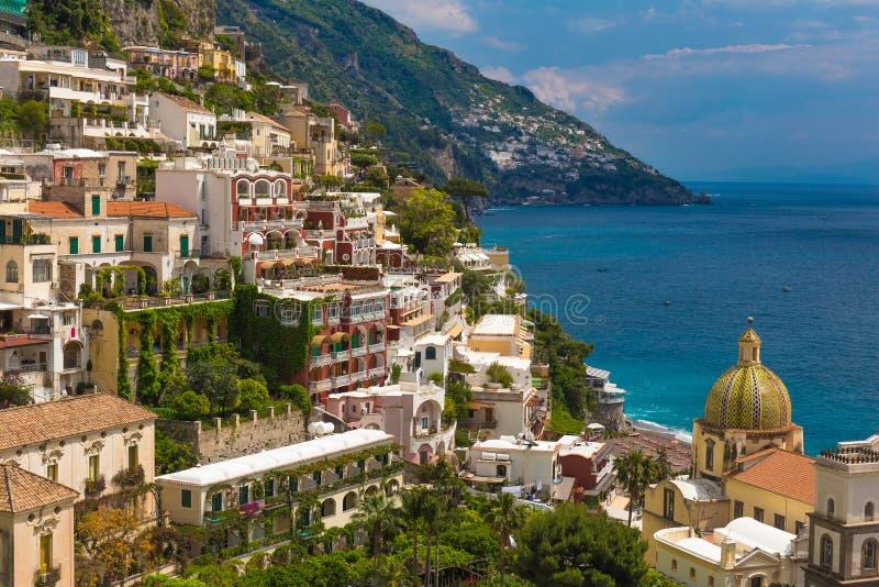 Cidade bonita de Positano, costa de Amalfi, região do Campania, Itália fotografia de stock royalty free