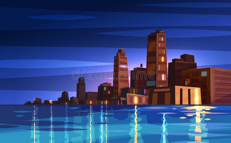 Cidade bonita dos desenhos animados da noite do vetor com lua ilustração royalty free