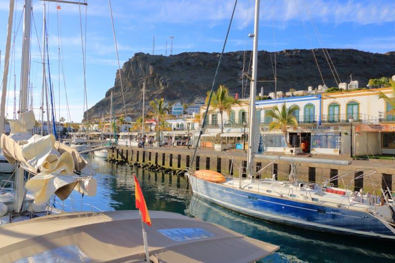 Cidade bonita Puerto Mogan em Gran Canaria, Espanha foto de stock