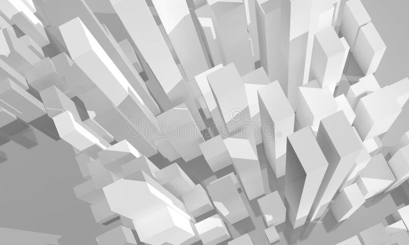 Cidade branca abstrata, vista aérea modelo 3d ilustração do vetor
