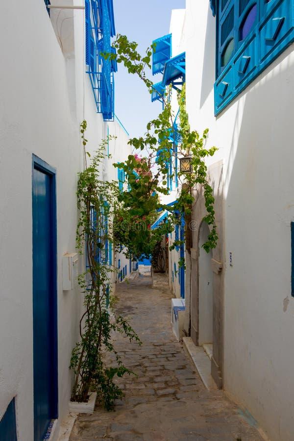 Cidade branca e azul Sidi Bou Said, Tunísia, África fotos de stock
