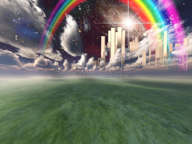 Cidade celestial ilustração royalty free