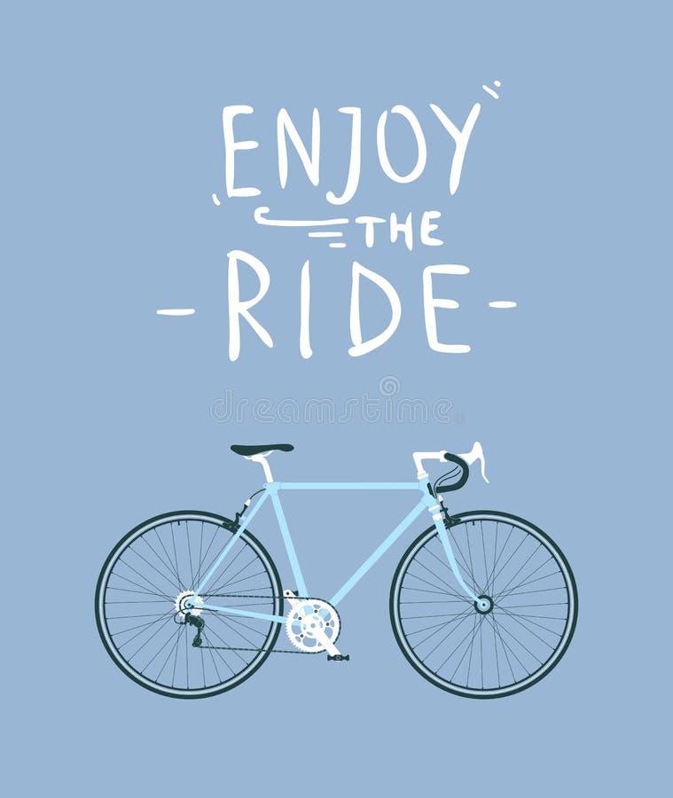 A cidade clássica dos homens, bicicleta da estrada com aprecia o título do passeio, a ilustração detalhada do vetor para o cartão ilustração royalty free